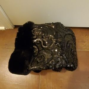 Black Sequins wedge heel boots with faux fur trim